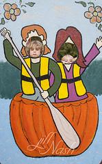 I can't not post this one. (grilljam) Tags: pumpkinfest damariscotta autumn october2016 ewan 7yrs seamus 4yrs pumpkinboats pumpkinregatta