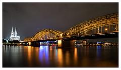 Cologne by night (leo.roos) Tags: nachtopname nightshot longexposure bridge brug hohenzollerbrcke colognecathedral klnerdom domvankeulen rijn rhine kln cologne keulen september2016 a7rii sonycz16354 zeiss darosa leoroos sonyflickraward