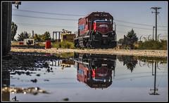Utah Reflections (Jim the Joker) Tags: 1496 patriotrail utahcentralrailway ucry bnsf1496 bn1396 ogden gp15 geep railroad locomotive reflection