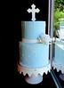 Quilted Rose Communion Cake (Sasabeth) Tags: scrollwork bluecake christeningcake gumpasterose blueandwhitecake communioncake