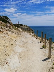 Seven Hanging Valleys Walk, approaching Lighthouse of Alfanzina. (Cycling Man) Tags: lighthouse landscape coast rocks walk cliffs trail algarve alfanzina sevenhangingvalleys