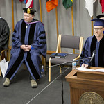 "<b>Commencement_2015_13</b><br/> Commencement speaker Mike Danforth, producer of NPR's hit radio show ""Wait Wait Don't Tell Me"" has the audience rolling in their seats with his witty, yet insightful, commencement address. Photo by Aaron Lurth<a href=""http://farm8.static.flickr.com/7778/17859775108_9c077d88a9_o.jpg"" title=""High res"">∝</a>"
