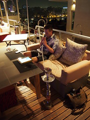 Tor Erling having som Sheesha on our hotel rooftop, Cairo!