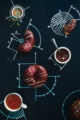 Sweet geometry of donuts (Dina Belenko) Tags: food cooking coffee fun design chalk graphic tea drink sweet drawing geometry chocolate tasty science delicious sprinkles donut math learning precision homework splash scheme blackboard pleasure khabarovsk nutrition appetizing kithen nutritionist dietetics cartesiancoordinates