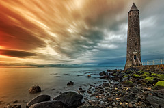 High Tower (Perkvats Havatkov) Tags: longexposure sunset sea lighthouse clouds coast shore northernireland countyantrim larne eosm chainememorial