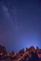 DSC_0350 (yuri_irawan) Tags: sea sky seascape beach night indonesia landscape star rocky nightsky milkyway
