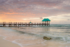 The Sunrise in Tulum Mexico was so beautiful, I'm glad I was able to capture it for my Flickr  family.   Have a blessed week. (Anthony. B) Tags: bridge water beautiful sunrise mexico nikon waves seascapes tulum vibrantcolors d3100