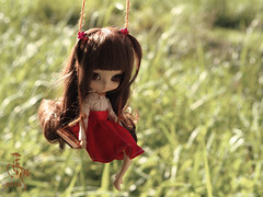 Time to think (Malina (LaelP)) Tags: pastel hair brown puppe mueca poupe podo yeolume pullup daughter little spring xiao chun chinese cute girl doll groove toy outdoors forest outdoor summer swing child childhood red skirt white shirt obitsu23 obitsu 23