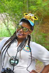 A zoo photographer (radargeek) Tags: hat zoo photographer giraffe oklahomacity okczoo