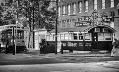 Arthur's Paradise Diner (trochford) Tags: diner restaurant building structure streetcar tram arthursparadisediner paradisediner bridgestreet lowell lowellma lowellmassachusetts ma massachusetts newengland usa bw blackandwhite blackwhite mono monochrome outdoor exterior canon
