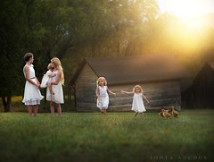 Harmony (Sonya Adcock Photography) Tags: children kids photography childphotography light evening glow warm family painterly portrait ray poetry poetic story nikon nikond700 nikkor nikkor105mmdc childhood fineart fineartphotography painting art sonyaadcockphotography farm geese littlehouse littlehouseontheprairie barn barns dresses field trees