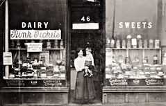 The Lyceum Dairy and Sweet Shop, Vintage Postcard (1) (ronramstew) Tags: liverpool merseyside old vintage postcard mersey lyceum dair sweetshop shop shopfront woman child