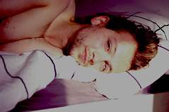 Blue eyed cat (Paula Vorek) Tags: boy morning nikond60 nikon mood blue purple pink sleepy portrait paulavorek nomakeup softly