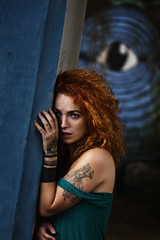 Control (agruszka212) Tags: beautiful female model woman beauty redhead red hair blue eye wall art big brother tension pentax k3