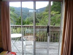looking out sliding door (Sudarshanaloka) Tags: sudarshanaloka tara soitarycabin newzealand triratna buddhist buddhism nature bush solitarycabin retreat solitaryretreat meditation