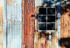 Faraway Barn (studioferullo) Tags: abstract art beauty bright building buildings colorful blue red ochre gold rust brown contrast country old decay detail farm ranch historic house barn light metal window wall outdoor outdoors outside minimalism park monument nationalpark nationalmonument pattern pretty scene serene shadow shadows study sunny sunlight sunshine texture tone tones faraway chiricahua arizona weathered