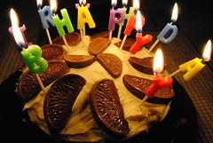 Birthday Cake (KT-wu) Tags: cake birthdaycake chocolateorange sponge candles happybirthday celebration baking homebaking homemade