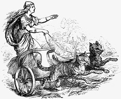 Freyja and Her Cat-Drawn Chariot (sjrankin) Tags: cats illustration edited library wikipedia grayscale mythology chariot norse freyja norsemythology 4may2015