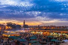 Sun down, lights up. (MrJSparks) Tags: street city travel sunset urban publicspace shopping square prime fuji market dusk citylife streetphotography morocco medina marketplace marrakesh jamaaelfna fixedlens jemaaelfnaa x100t