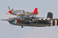 B-25 Mitchell & P-51C Mustang (Derek Mickeloff) Tags: canon formation airshow mitchell mustang brantford b25 tuskegee p51c 60d
