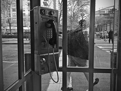 The Last Remaining Phone Booth in NYC? (-jamesstave-) Tags: nyc newyork window public glass booth manhattan telephone superman communication payphone upperwestside endangered clarkkent redundant telecommunication outdated antiquated germs disappearing coinphone iphone5s