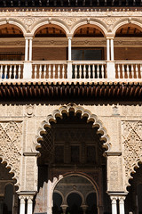 Arabic arches in Seville (basair) Tags: castle architecture sevilla spain arch palace seville arabic moorish alcazar ornate andalusia marvel royalalcazar