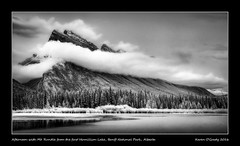 Afternoon with Mt. Rundle from the first Vermillion Lake, Banff National Park, Alberta (kgogrady) Tags: trees blackandwhite bw mountain canada clouds landscape blackwhite spring nikon afternoon noone ab nopeople alberta infrared banff nikkor mountrundle dx banffnationalpark parkscanada mtrundle canadianrockies vermillionlakes 2016 westerncanada canadianmountains d80 canadiannationalparks canadianlandscapes cans2s albertalakes albertalandscapes nikonafs18200mmgvr canadianrockieslanscape picturesofmtrundle photosofmtrundle