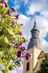 Unschrfe - out of focus (ralfkai41) Tags: dof kirche pov unschrfe church flowers blumen wolken clouds belltower eger ungarn hungary tower klockenturm turm
