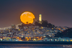 Moon rise over Coit Tower - One day after full moon (FollowingNature) Tags: followingnature moonshots fullmoon sanfrancisco ggb coittower moonrise