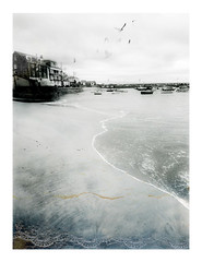St. Ives soft light with lacy shoreline (Carolyn Saxby) Tags: stives lace beach waves harbour sea boats blackandwhite colourtint lacetexture carolynsaxby