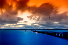 Como Jetty in spring (tseyin) Tags: spring longexposure westernaustralia perth travel australia clouds cloud colors colourful water river bridge jetty colours