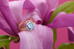 Gold ring and magnolia (Jacek Dylag) Tags: blue flower gold jewelry ring diamond jewellery magnolia topaz bizuteria pierscionek twojabizuteria adeart