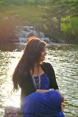 A Blue Mermaid (J - A - R - Y - N) Tags: blue sunset summer chicago black water smile rock canon 50mm waterfall outdoor mermaid t3i