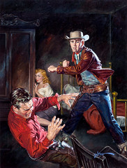 Outlaw Fury, paperback cover, 1952 by George Gross (Tom Simpson) Tags: art illustration vintage painting fight cowboy 1950s western punch 1952 fistfight georgegross