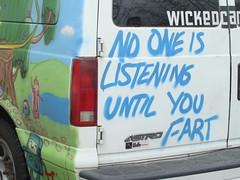 No One is Listening (knightbefore_99) Tags: street blue west art car vancouver graffiti coast message no astro listening wicked fart van eastvan wolfe
