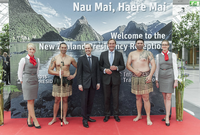 Burkhard Jung and an attendee experience the full New Zealand welcome at the receptionm
