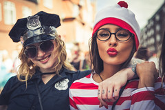 Cop and Waldo - Aalborg Karneval 2015 (Filip Lundby) Tags: street woman girl smile sunglasses closeup happy costume kiss lipstick