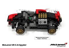 McLaren V8 C-A Spyder Concept (Technical Cutaway) (lego911) Tags: auto road ca car race speed model lego render bruce contest automotive spyder mclaren m8 concept hybrid challenge v8 champions scissor cad povray canam moc kers ldd miniland rebrick lego911