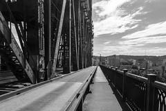 DSC_0159 (pillarsoflight) Tags: bridge shadow blackandwhite bw monochrome beauty oregon river portland nikon crossing adobe repetition pdx desaturated 1855 railing across pnw lightroom d3300