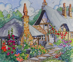 Original Watercolor A Garden Morning Storybook Cottage Series Alida Bayne Akers (cottagelover1953) Tags: garden originalpainting cottage tudor deco storybook hollyhocks oldfashioned englishgarden thatchedcottage watercolorpainting vintagestorybook