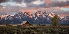 John Moulton Barn Sunrise (SageJTN) Tags: mountains barn sunrise nationalpark colorful tetons grandtetonnationalpark