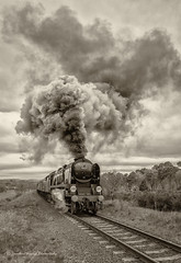 IMG_8579-1B&W (Nimbus20) Tags: uk england blackandwhite west train shropshire pacific smoke rail railway steam southern nostalgia fields locomotive preservation westcountry severnvalley severnvalleyrailway kidderminster bulleid lightpacific