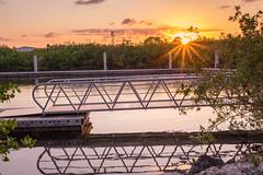 Sunset At the Docks (GRO Photography) Tags: sunset orange green water fence dock floating flare serene burst placid