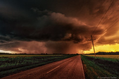 Kansas Tornado (Jonathan Tasler) Tags: road sunset storm clouds midwest farm kansas thunderstorm tornado leadinglines