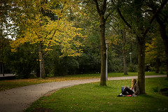 Time to wander (korylp) Tags: park city trees summer portrait green netherlands leaves amsterdam student europe time path candid follow frame ponder leung kory klp vonpark