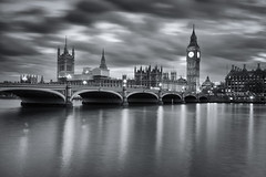 Westminster (Pablo S.O.) Tags: city bridge bw london water thames night buildings river long exposure londres ilobsterit