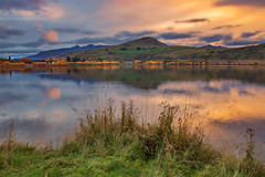 Lake Hayes Sunset || QUEENSTOWN || NZ (rhyspope) Tags: new autumn sunset sky cloud mountain lake pope color colour reflection green fall water grass sunrise canon landscape ripple zealand nz queenstown 5d hayes rhys arrowtown mkii rhyspope