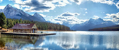 Maligne Lake, Jasper National Park, Alberta, Canada - ps6692-99 (photos by Bob V) Tags: park panorama lake mountains reflection rockies jasper rockymountains mountainlake maligne jaspernationalpark malignelake canadianrockies reflectiononwater jasperpark mountainpanorama