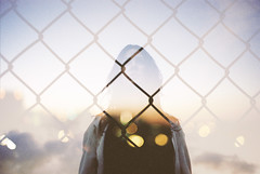 Locked Out (Louis Dazy) Tags: sunset film girl silhouette analog sunrise 35mm exposure bokeh grain double