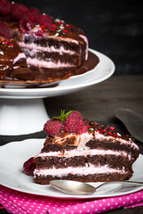 Chocolate cake with fresh berries. (nadiaborovenko) Tags: above background baked bakery baking berry biscuit cake cheese chocolate closeup cream creamy delicious dessert eat food fresh fruit fruits gourmet heart holiday home homemade layered leaves love mint pastry pie pink plate portion raspberry red round sour strawberry sugar summer sweet tart tasty top valentine valentinesday white wooden